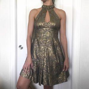 Nanette Lepore gold halter evening party dress